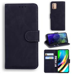 Retro Classic Skin Feel Leather Wallet Phone Case for Motorola Moto G9 Plus - Black