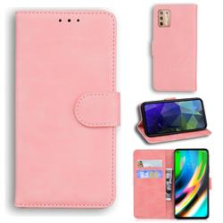 Retro Classic Skin Feel Leather Wallet Phone Case for Motorola Moto G9 Plus - Pink