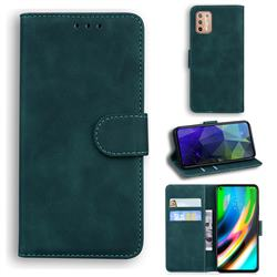 Retro Classic Skin Feel Leather Wallet Phone Case for Motorola Moto G9 Plus - Green