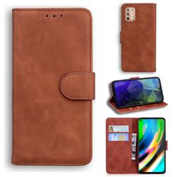 Retro Classic Skin Feel Leather Wallet Phone Case for Motorola Moto G9 Plus - Brown