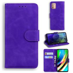Retro Classic Skin Feel Leather Wallet Phone Case for Motorola Moto G9 Plus - Purple