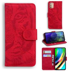 Intricate Embossing Tiger Face Leather Wallet Case for Motorola Moto G9 Plus - Red