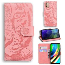 Intricate Embossing Tiger Face Leather Wallet Case for Motorola Moto G9 Plus - Pink