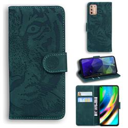Intricate Embossing Tiger Face Leather Wallet Case for Motorola Moto G9 Plus - Green