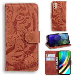 Intricate Embossing Tiger Face Leather Wallet Case for Motorola Moto G9 Plus - Brown