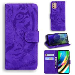 Intricate Embossing Tiger Face Leather Wallet Case for Motorola Moto G9 Plus - Purple