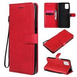 Retro Greek Classic Smooth PU Leather Wallet Phone Case for Motorola Moto G9 Plus - Red