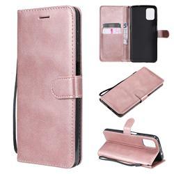 Retro Greek Classic Smooth PU Leather Wallet Phone Case for Motorola Moto G9 Plus - Rose Gold