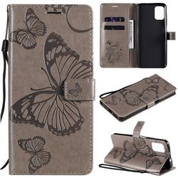 Embossing 3D Butterfly Leather Wallet Case for Motorola Moto G9 Plus - Gray