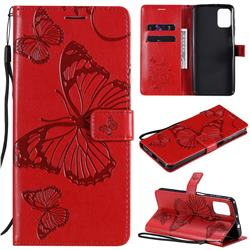 Embossing 3D Butterfly Leather Wallet Case for Motorola Moto G9 Plus - Red
