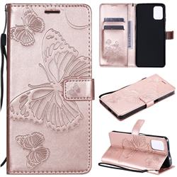 Embossing 3D Butterfly Leather Wallet Case for Motorola Moto G9 Plus - Rose Gold