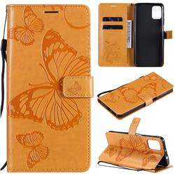 Embossing 3D Butterfly Leather Wallet Case for Motorola Moto G9 Plus - Yellow