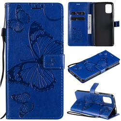 Embossing 3D Butterfly Leather Wallet Case for Motorola Moto G9 Plus - Blue