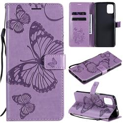 Embossing 3D Butterfly Leather Wallet Case for Motorola Moto G9 Plus - Purple