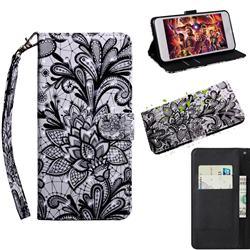 Black Lace Rose 3D Painted Leather Wallet Case for Motorola Moto G9 Plus