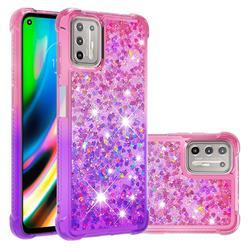Rainbow Gradient Liquid Glitter Quicksand Sequins Phone Case for Motorola Moto G9 Plus - Pink Purple