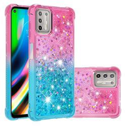 Rainbow Gradient Liquid Glitter Quicksand Sequins Phone Case for Motorola Moto G9 Plus - Pink Blue
