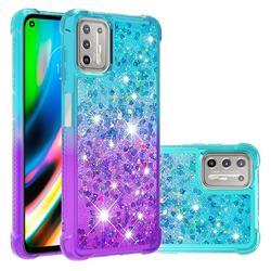 Rainbow Gradient Liquid Glitter Quicksand Sequins Phone Case for Motorola Moto G9 Plus - Blue Purple