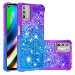 Rainbow Gradient Liquid Glitter Quicksand Sequins Phone Case for Motorola Moto G9 Plus - Purple Blue