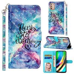 Blue Starry Sky 3D Leather Phone Holster Wallet Case for Motorola Moto G9 Plus