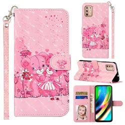 Pink Bear 3D Leather Phone Holster Wallet Case for Motorola Moto G9 Plus