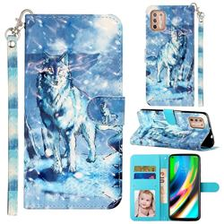 Snow Wolf 3D Leather Phone Holster Wallet Case for Motorola Moto G9 Plus