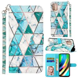 Stitching Marble 3D Leather Phone Holster Wallet Case for Motorola Moto G9 Plus