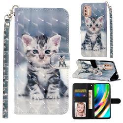Kitten Cat 3D Leather Phone Holster Wallet Case for Motorola Moto G9 Plus