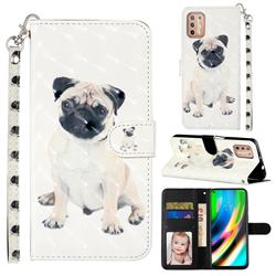 Pug Dog 3D Leather Phone Holster Wallet Case for Motorola Moto G9 Plus