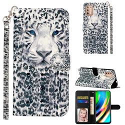White Leopard 3D Leather Phone Holster Wallet Case for Motorola Moto G9 Plus