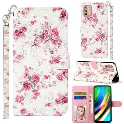 Rambler Rose Flower 3D Leather Phone Holster Wallet Case for Motorola Moto G9 Plus