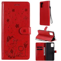Embossing Bee and Cat Leather Wallet Case for Motorola Moto G9 Plus - Red