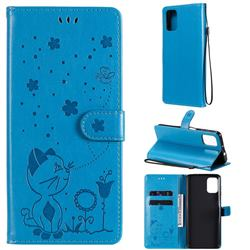 Embossing Bee and Cat Leather Wallet Case for Motorola Moto G9 Plus - Blue