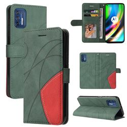 Luxury Two-color Stitching Leather Wallet Case Cover for Motorola Moto G9 Plus - Green