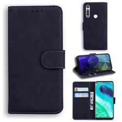 Retro Classic Skin Feel Leather Wallet Phone Case for Motorola Moto G Fast - Black
