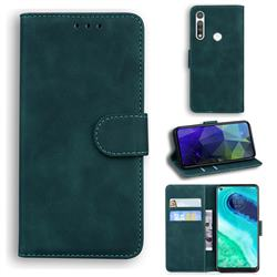 Retro Classic Skin Feel Leather Wallet Phone Case for Motorola Moto G Fast - Green