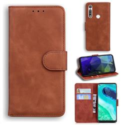 Retro Classic Skin Feel Leather Wallet Phone Case for Motorola Moto G Fast - Brown