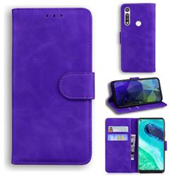 Retro Classic Skin Feel Leather Wallet Phone Case for Motorola Moto G Fast - Purple