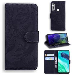 Intricate Embossing Tiger Face Leather Wallet Case for Motorola Moto G Fast - Black