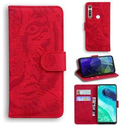 Intricate Embossing Tiger Face Leather Wallet Case for Motorola Moto G Fast - Red