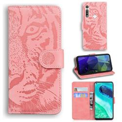 Intricate Embossing Tiger Face Leather Wallet Case for Motorola Moto G Fast - Pink