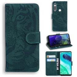 Intricate Embossing Tiger Face Leather Wallet Case for Motorola Moto G Fast - Green