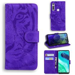 Intricate Embossing Tiger Face Leather Wallet Case for Motorola Moto G Fast - Purple