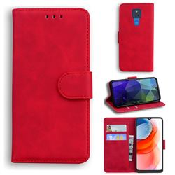 Retro Classic Skin Feel Leather Wallet Phone Case for Motorola Moto G Play(2021) - Red
