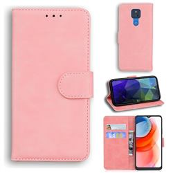 Retro Classic Skin Feel Leather Wallet Phone Case for Motorola Moto G Play(2021) - Pink