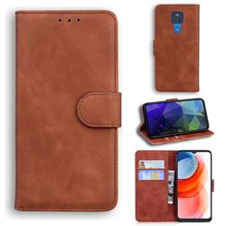 Retro Classic Skin Feel Leather Wallet Phone Case for Motorola Moto G Play(2021) - Brown