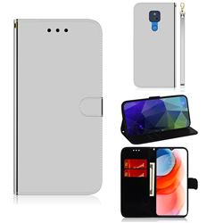 Shining Mirror Like Surface Leather Wallet Case for Motorola Moto G Play(2021) - Silver