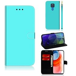 Shining Mirror Like Surface Leather Wallet Case for Motorola Moto G Play(2021) - Mint Green