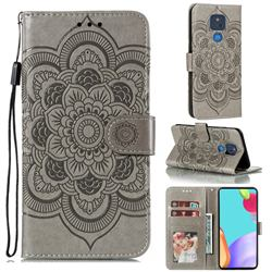 Intricate Embossing Datura Solar Leather Wallet Case for Motorola Moto G Play(2021) - Gray
