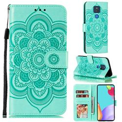 Intricate Embossing Datura Solar Leather Wallet Case for Motorola Moto G Play(2021) - Green